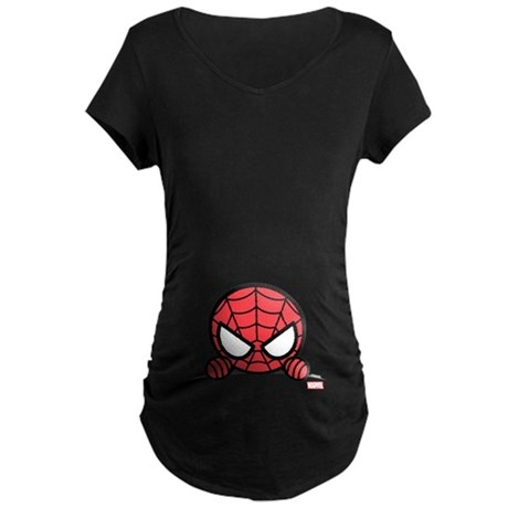 Spider-Man Peeking Maternity Dark T-Shirt
