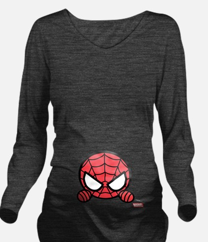 Spider-Man Peeking Long Sleeve Maternity T-Shirt