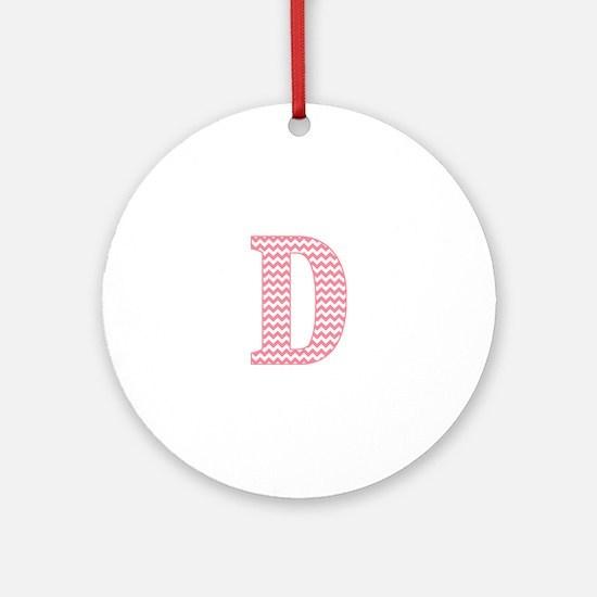Pink Chevron Letter D Monogram Round Ornament