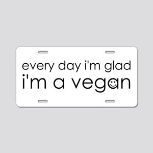 Glad Vegan Aluminum License Plate