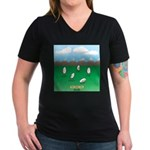 Free-Range Eggs Women's V-Neck Dark T-Shirt