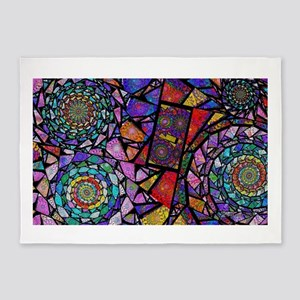 Fractal Stained Glass Spirals 5'x7'Area Rug