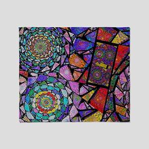 Fractal Stained Glass Spirals Throw Blanket