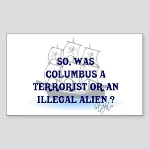 Columbus Question T-Shirts an Sticker (Rectangular