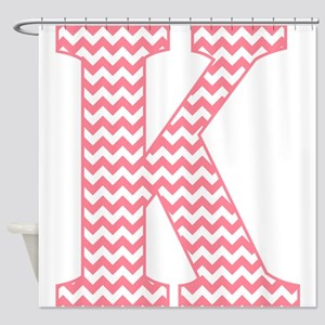 Pink Chevron Letter K Monogram Shower Curtain