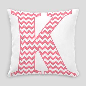 Pink Chevron Letter K Monogram Everyday Pillow