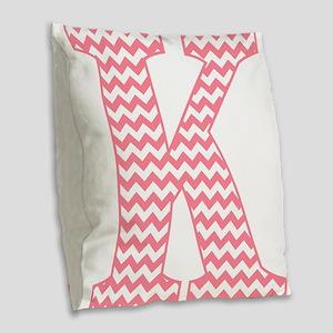 Pink Chevron Letter K Monogram Burlap Throw Pillow
