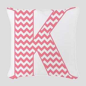 Pink Chevron Letter K Monogram Woven Throw Pillow