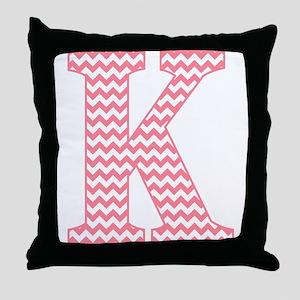 Pink Chevron Letter K Monogram Throw Pillow