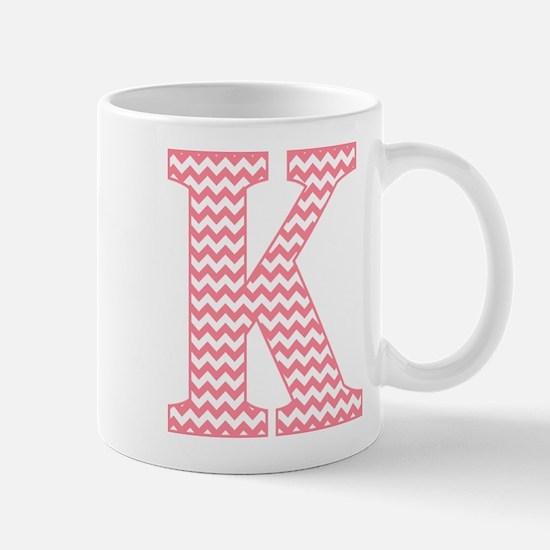 Pink Chevron Letter K Monogram Mugs