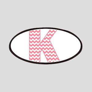 Pink Chevron Letter K Monogram Patch