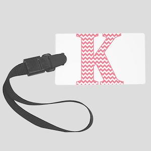 Pink Chevron Letter K Monogram Large Luggage Tag