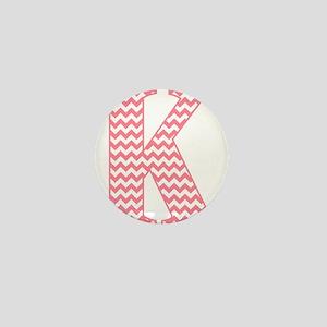 Pink Chevron Letter K Monogram Mini Button