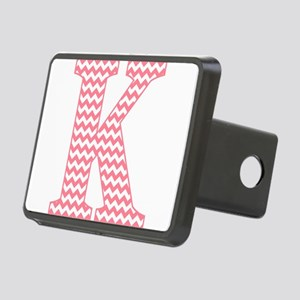 Pink Chevron Letter K Mono Rectangular Hitch Cover