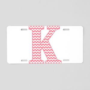 Pink Chevron Letter K Monog Aluminum License Plate