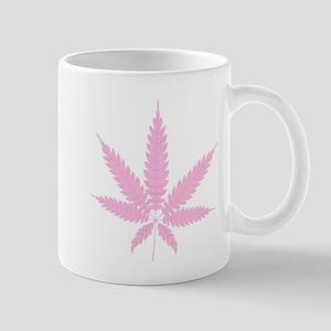 Pink Cannabis Leaf Mugs