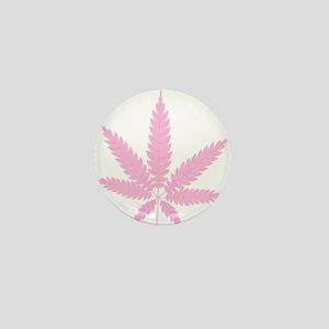 Pink Cannabis Leaf Mini Button