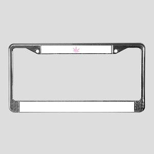 Pink Cannabis Leaf License Plate Frame
