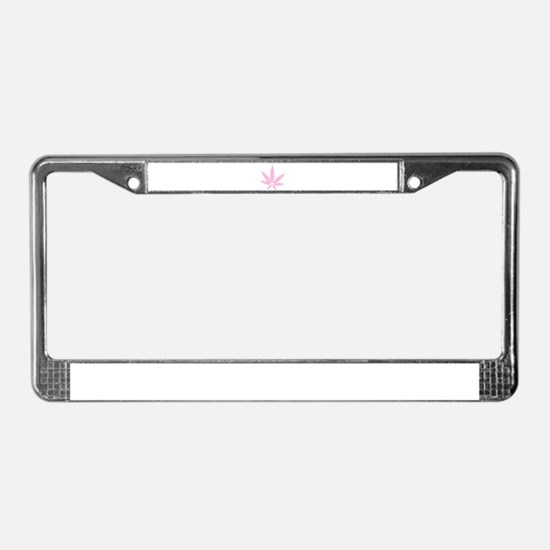 Pink Cannabis Leaf License Plate Frame