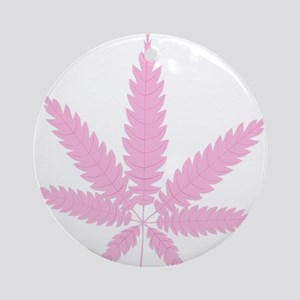 Pink Cannabis Leaf Round Ornament