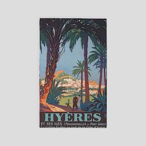 Hyeres, France Vintage Travel Poster Area Rug