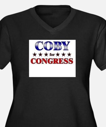 COBY for congress Women's Plus Size V-Neck Dark T-