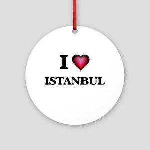 I love Istanbul Turkey Round Ornament