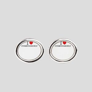 I Love CURMUDGEONLY Oval Cufflinks