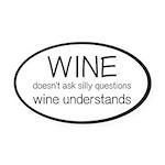 Wine Understands Oval Car Magnet