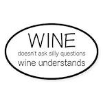 Wine Understands Sticker (Oval)