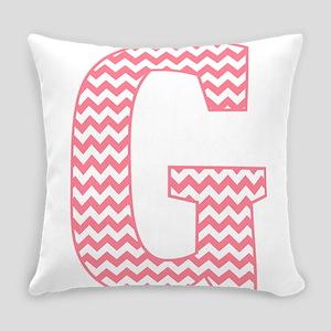 Pink Chevron Letter G Monogram Everyday Pillow