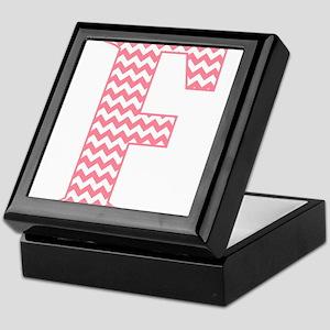Pink Chevron Letter F Monogram Keepsake Box