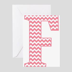 Pink Chevron Letter F Monogram Greeting Cards