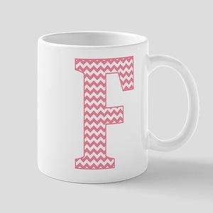 Pink Chevron Letter F Monogram Mugs