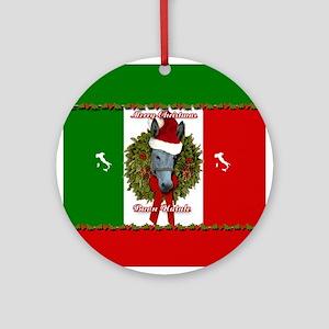 Donkey Buon Natale Christmas Ornament (Round)