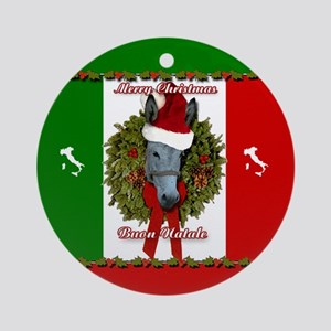 donkey buon natale christmas ornament round - The Italian Christmas Donkey