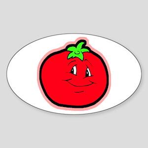 Happy Tomato Oval Sticker
