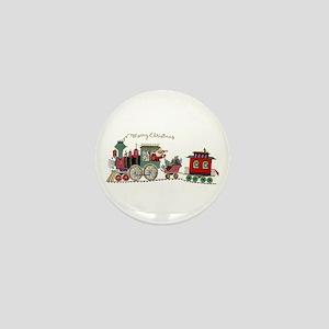 Christmas Santa Toy Train Mini Button
