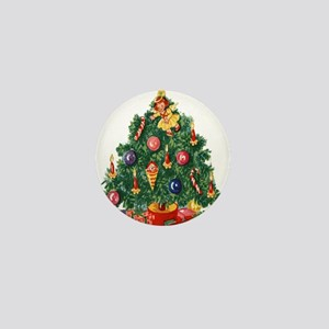 vintage retro Christmas Tree Mini Button