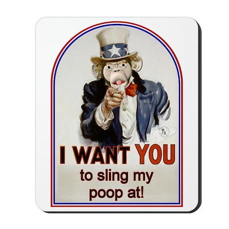 Monkey Slinging Poop Mousepad