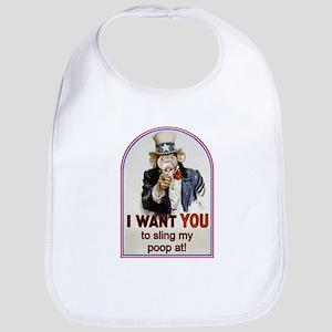 Monkey Slinging Poop Bib