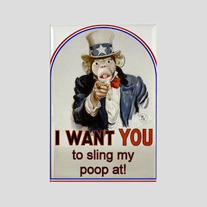 Monkey Slinging Poop Rectangle Magnet (10 pack)