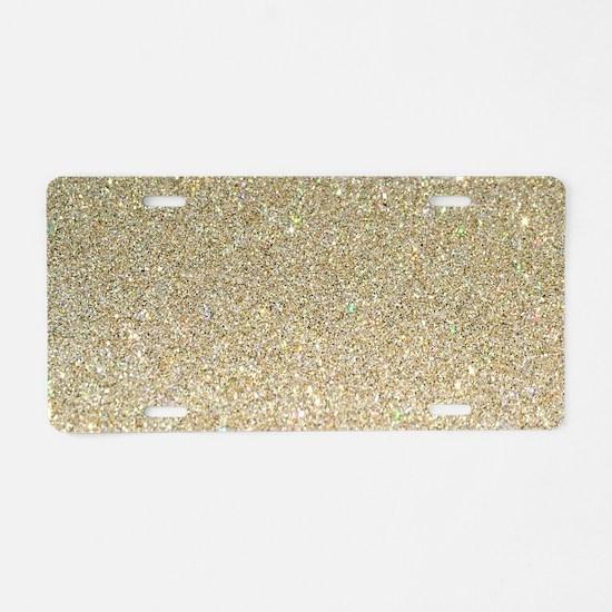 art deco gold glitter Aluminum License Plate