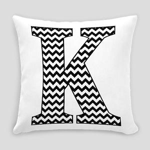 Black And White Chevron Letter K Everyday Pillow