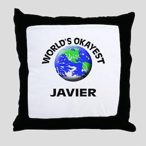World's Okayest Javier Throw Pillow