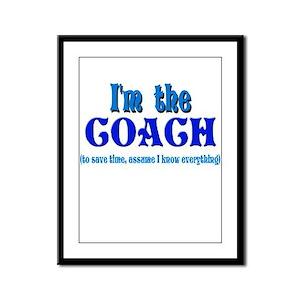 I'm the Coach -Blue Framed Panel Print
