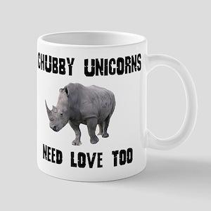 CHUBBY UNICORNS NEED LOVE TOO RHINO Mugs
