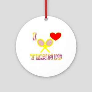 I Heart Tennis Yellow Ornament (Round)