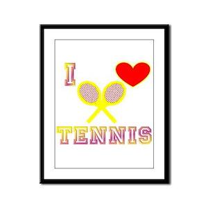 I Heart Tennis Yellow Framed Panel Print