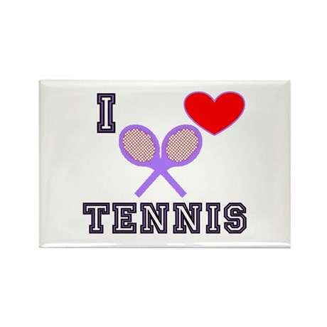I Love Tennis Purple Rectangle Magnet (100 pack)